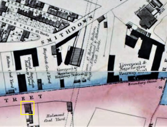 liverpool crown street gages map 1836 fixed 2 railway inn highlighted